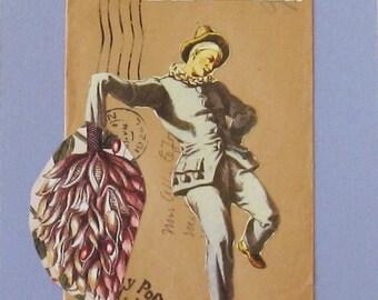 Collage on mat board, Pierrot does the Fandango