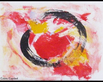 Ensō 円相   Acrylic painting on canvas paper, original art
