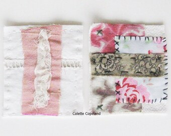 Textile art, 2 mini art quilts, hand stitched, patches