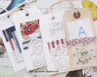 Original tag art, set of 4, Textiles lace vintage embroidery