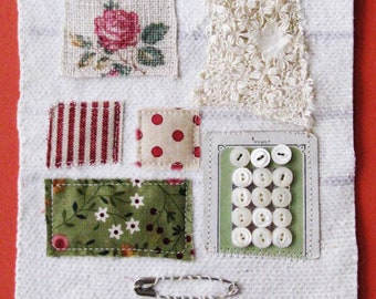 Small art quilt, textile art, Sampler, notions, buttons and safety pin