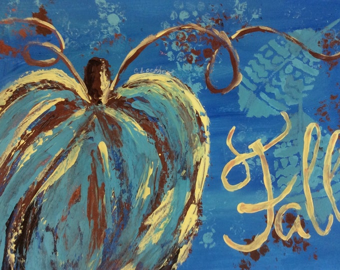 Featured listing image: Fall Pumpkin, original pumpkin painting, autumn decor, thanksgiving decor, holiday art,metallic copper, glitter, holiday art