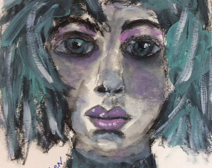 Featured listing image: Green Eyed Lady, original mixed media painting, by Loethen Design, fashion illustration, contemporary art,