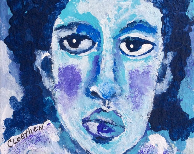 Featured listing image: Morning Blues, print from original art, gift for her, figurative art card,