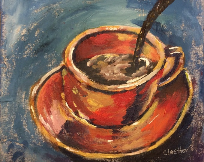 Featured listing image: Coffee Time original art, coffee cup painting, coffee lovers art, mixed media art, original kitchen wall art,