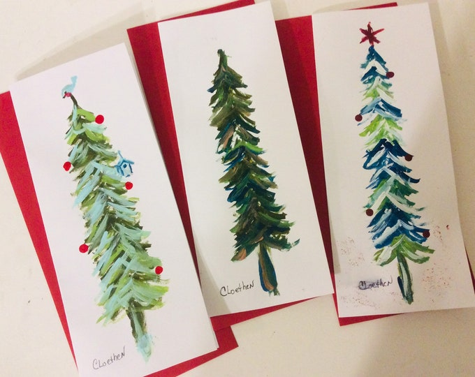 Featured listing image: Christmas tree cards, hand painted Christmas cards, original Christmas tree cards, set of Christmas cards,