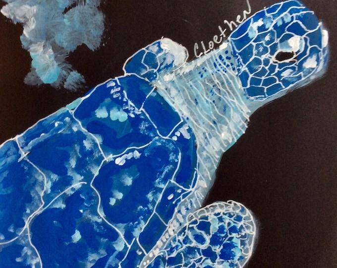 Featured listing image: Blue Sea Turtle, Original acrylic lainting, by Loethen Design, sea life painting, original turtle painting, small turtle art, beachhouse art
