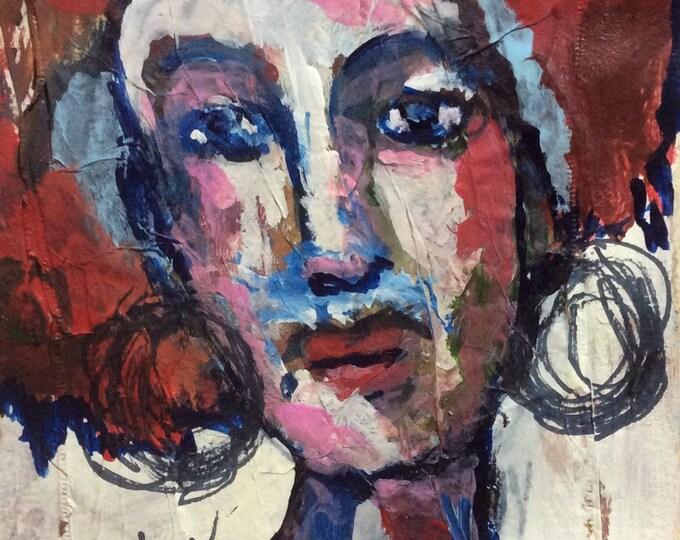 Featured listing image: Beth Ann, female art, strong women art, tea bag art, mixed  edia art, tea lovers art