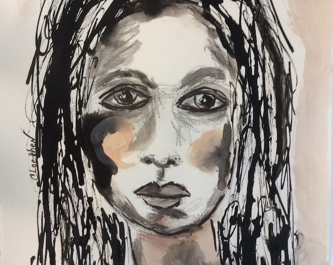 Featured listing image: I am Me, original mixed media painting, abstract girl painting, portrait art, contemporary art, art for your soul