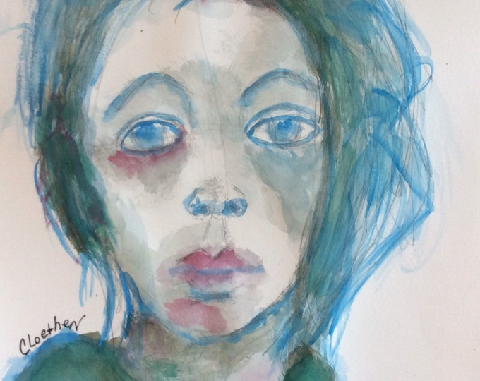 Featured listing image: Helen,original watercolor,loose painting, watercolor painting, original art, portrait painting, girl art, art for the wall, ready to frame,