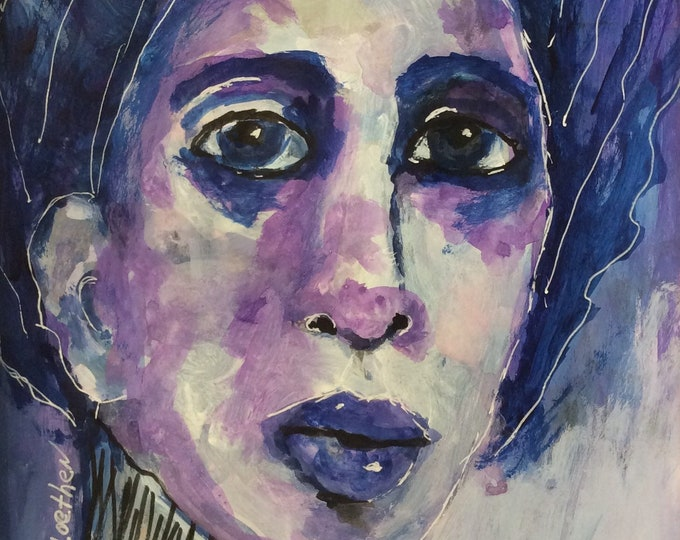 Featured listing image: Promises in the Dark, original painting, mixed media art, fashion illustration, fashion faces, figurative art, watercolor,
