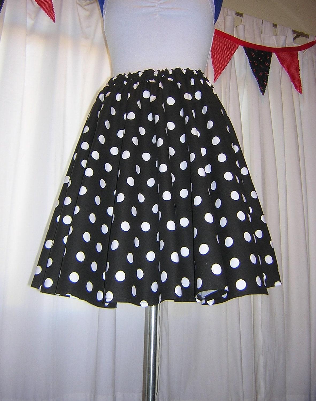 7f85307429b4 Black And White Polka Dot Circle Skirt | Saddha