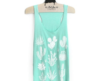 XL -Tri-Blend Mint Racerback Tank with White Cactus Screen Print