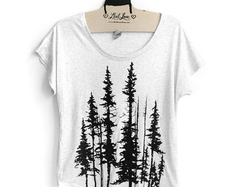 Small-  Tri-Blend White Dolman Tee with Evergreen Trees Screen Print-