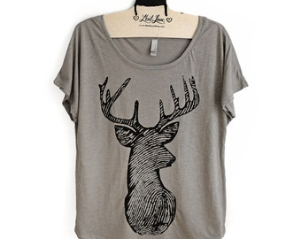 Large-  Tan Dolman Tee with Deer Screen Print