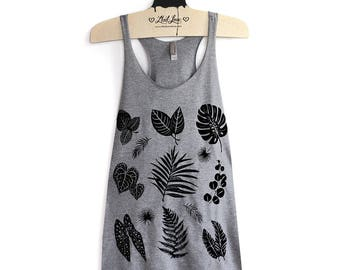 L -Racerback Tank with Plant Leaves Screen Print Tri-Blend Heather Gray