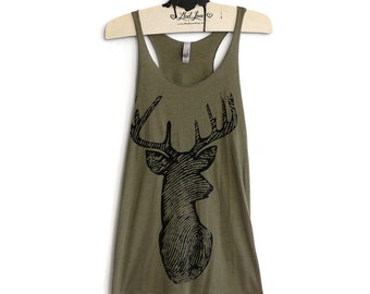 XL Tri-Blend Olive Racerback Tank with Deer Screen Print