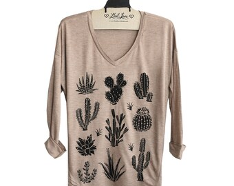 Womens M or L- Tan SOFT V-Neck Long Sleeve Top with Cactus Screen print