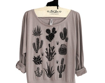 Small - Tan Ladies' Flowy Long-Sleeve Off-Shoulder Top with Cactus Print
