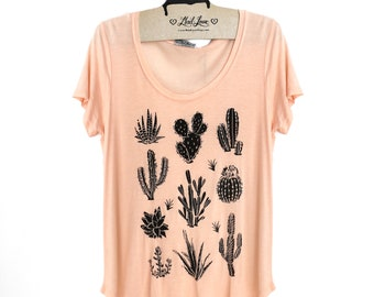 Large- Light Peach Scoop Neck Slub Tee with Cactus Screen Print