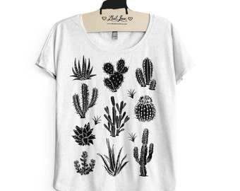 SALE XL-  Tri-Blend Heather White Dolman Tee with Cactus Screen Print