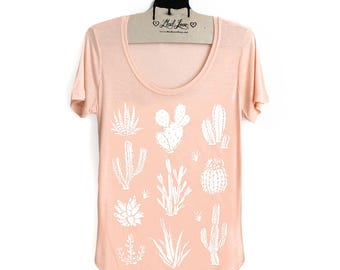 Small- Light Peach Scoop Neck Slub Tee with Cactus Screen Print