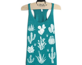 XL- Tri-Blend Teal Racerback Tank with Cactus Screen Print