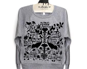 M- Heather Gray Tri-Blend Sweatshirt Folk Art Print