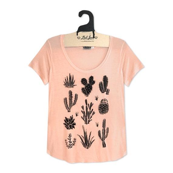 Heather Gray Soft Long sleeve v-Neck top with Cactus Screen Print Medium Ladies