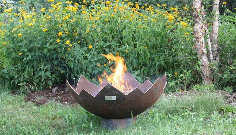 The Great Flaming Lotus 37 Inch Sculptural Fire Pit Etsy