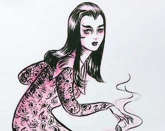 Witch, original drawing by Johanna Öst
