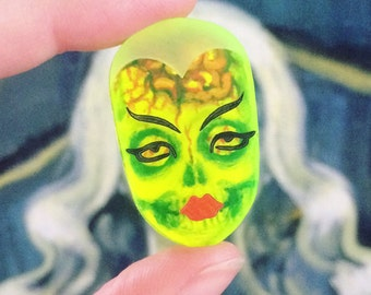 Neon acrylic Ghoul Face pin