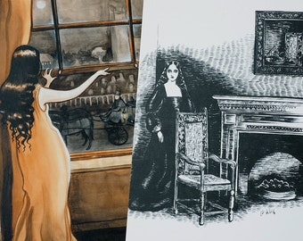 Ghost story illustrations, art postcards by Johanna Öst