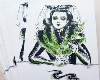 Lady with Pipe and Snake, art postcard by Johanna Öst
