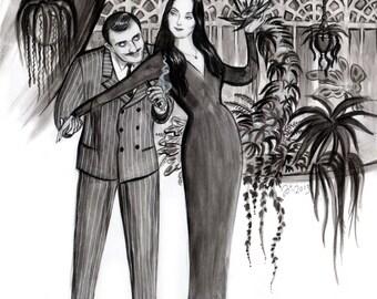 Conservatory, large Addams Family art print by Johanna Öst