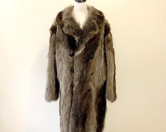 Vintage Men's Real Raccoon Fur Coat Size XL Excellent Condition
