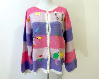 Vintage 80s Mohair Cardigan Sweater with Applique and Pearl Buttons Size M L