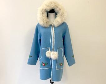 Vintage Inuit Native Parka Coat Fox Fur Hood Canada Size M