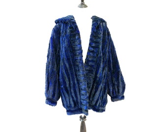 Vintage 80s Electric Blue Real Sheared Beaver Fur Coat Size M L Canada with Hood