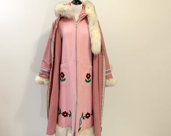 Vintage Inuit Native Parka Coat Fox Fur Hood two layers Canada Size S M