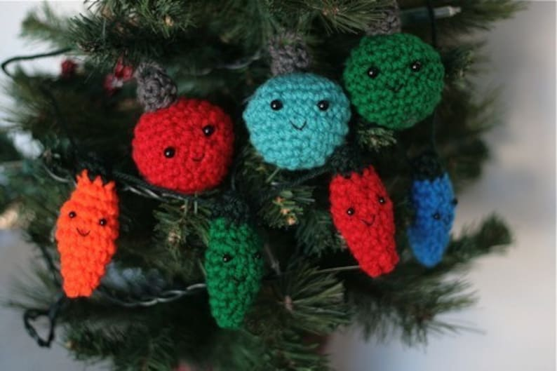 Oldfashioned Christmas Lights and Ball Ornaments Crochet image 0
