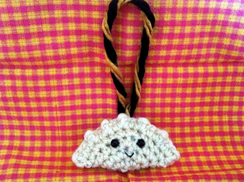 Black and Gold Crochet Pierogi Christmas Ornament image 0