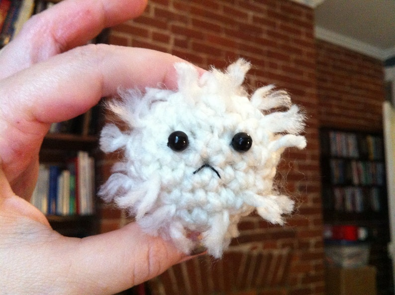 Frowny White Blood Cell  Crochet Plush image 0
