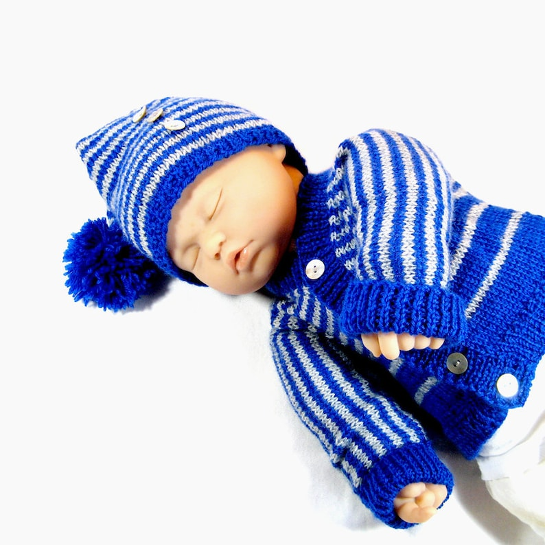 DiY Knit Pattern Striped Baby Sweater and Hat: Easy ...