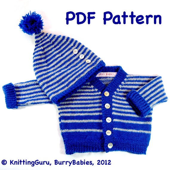 Diy Knit Pattern Striped Baby Sweater And Hat Easy Knitting Etsy