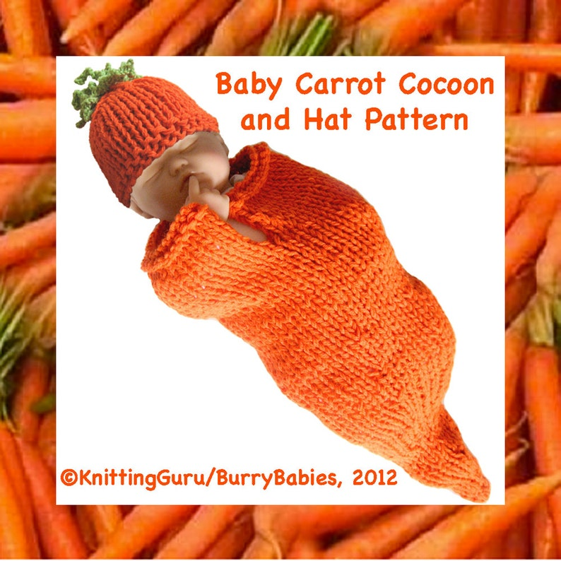 Knitting Pattern: Baby Carrot Cocoon and Hat   Halloween image 1