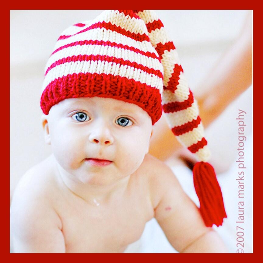 Knitting Pattern Tutorial Baby Hat Stocking Cap Pixie Hat Elf