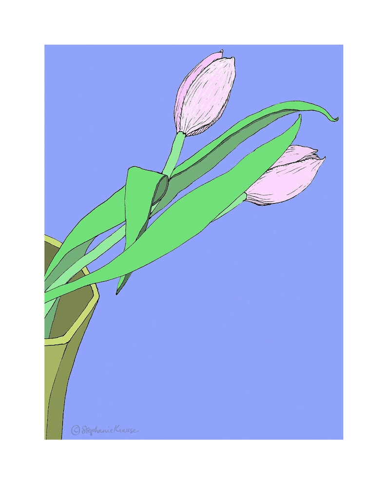 Tulips  giclee-printed greeting card from original drawing image 0