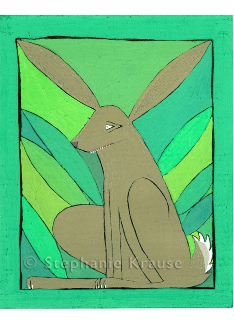 Rabbit  8 x 10 matted signed digital Giclee image 0