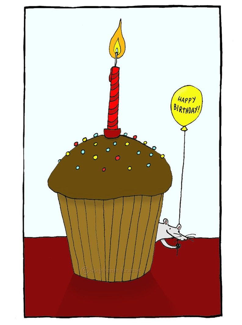 Happy Birthday  mouse cupcake Giclee greeting card blank image 0